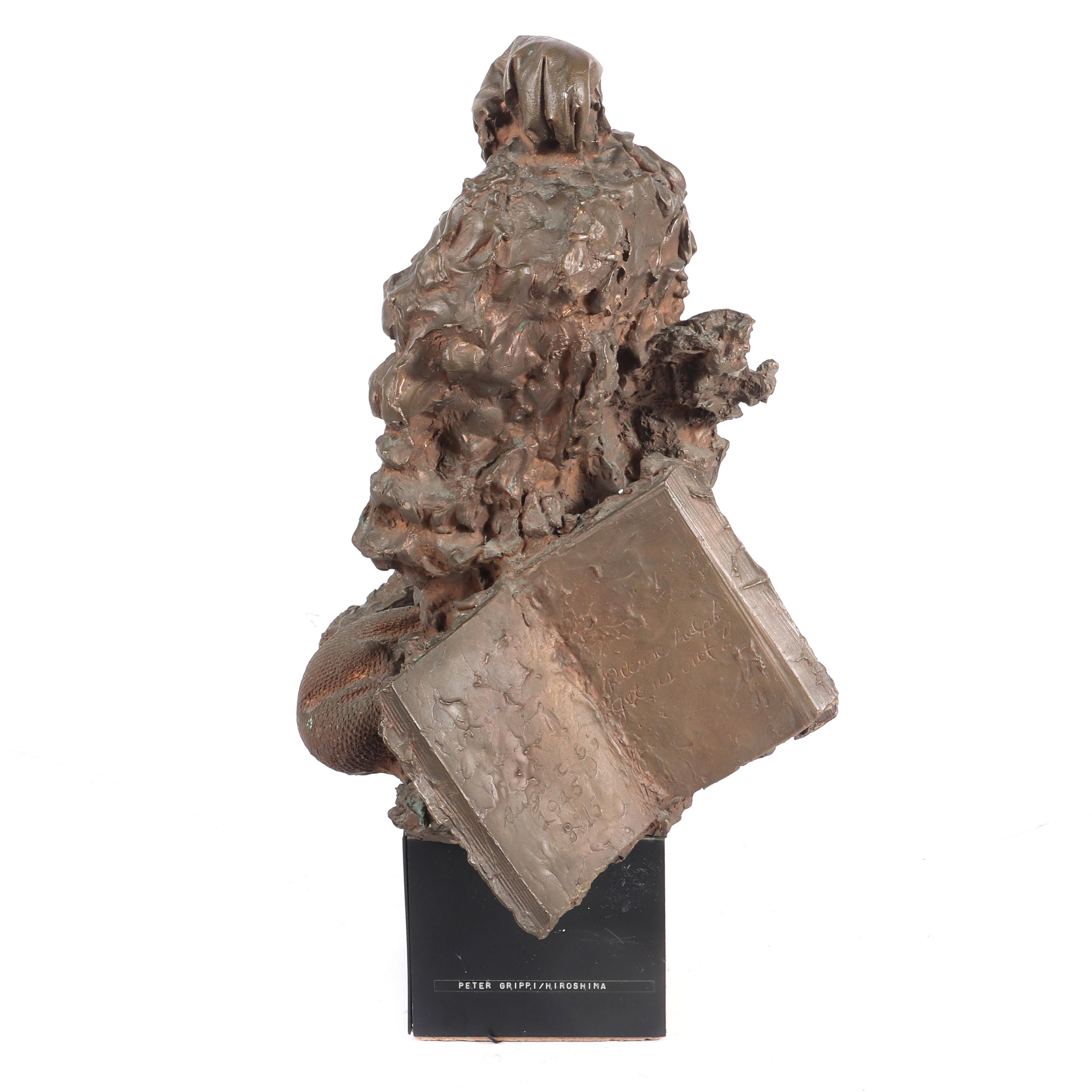 """Peter J. Grippe, (American, 1912-2002), Hiroshima, 1966, cast bronze bust, 22""""H x 11""""W"""
