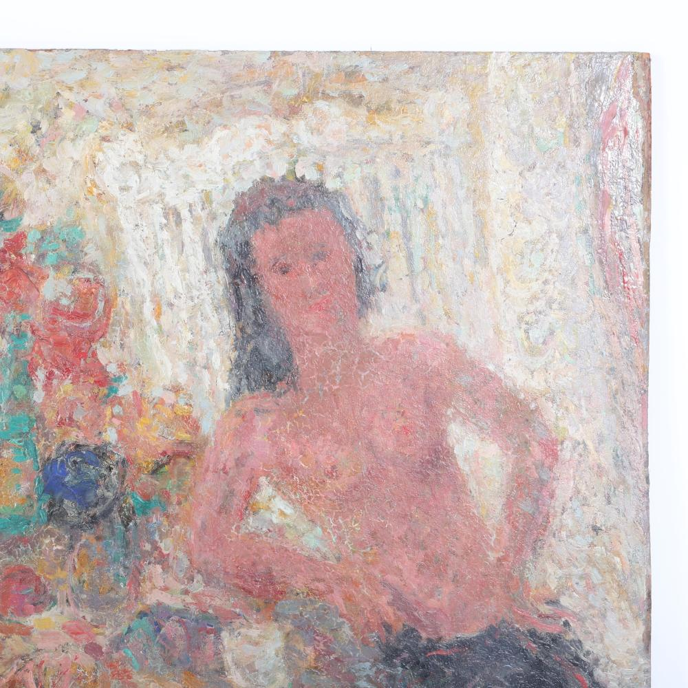 """Nell Blair Walden Blaine, (American, 1922-1996), Seated figure at a table with flowers, 1957, oil on panel, 42""""H x 24""""W"""