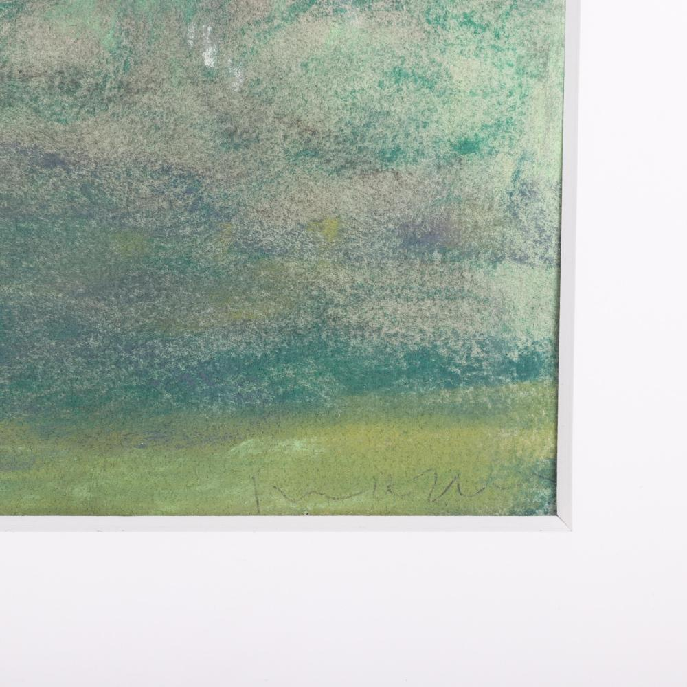 "Michael Mazur, (American, 1935-2009), Spring Yard, pastel on paper, 45 3/4""H x 15""W (image) 55""H x 24 1/2"" W (frame)"
