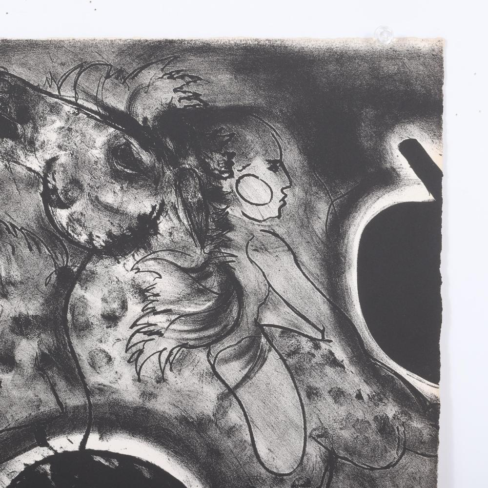 """Robert Beauchamp, New York / Massachusetts / Colorado 20th Century, Hunted Horse, circa 1978, black and white lithograph on paper, 18""""H x 26""""W (paper)"""