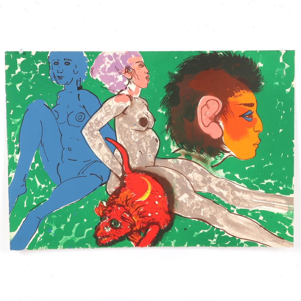 """Robert Beauchamp, New York / Massachusetts / Colorado , Red Rat, 1978, color lithograph on paper, 18""""H x 25 3/4""""W (paper)"""