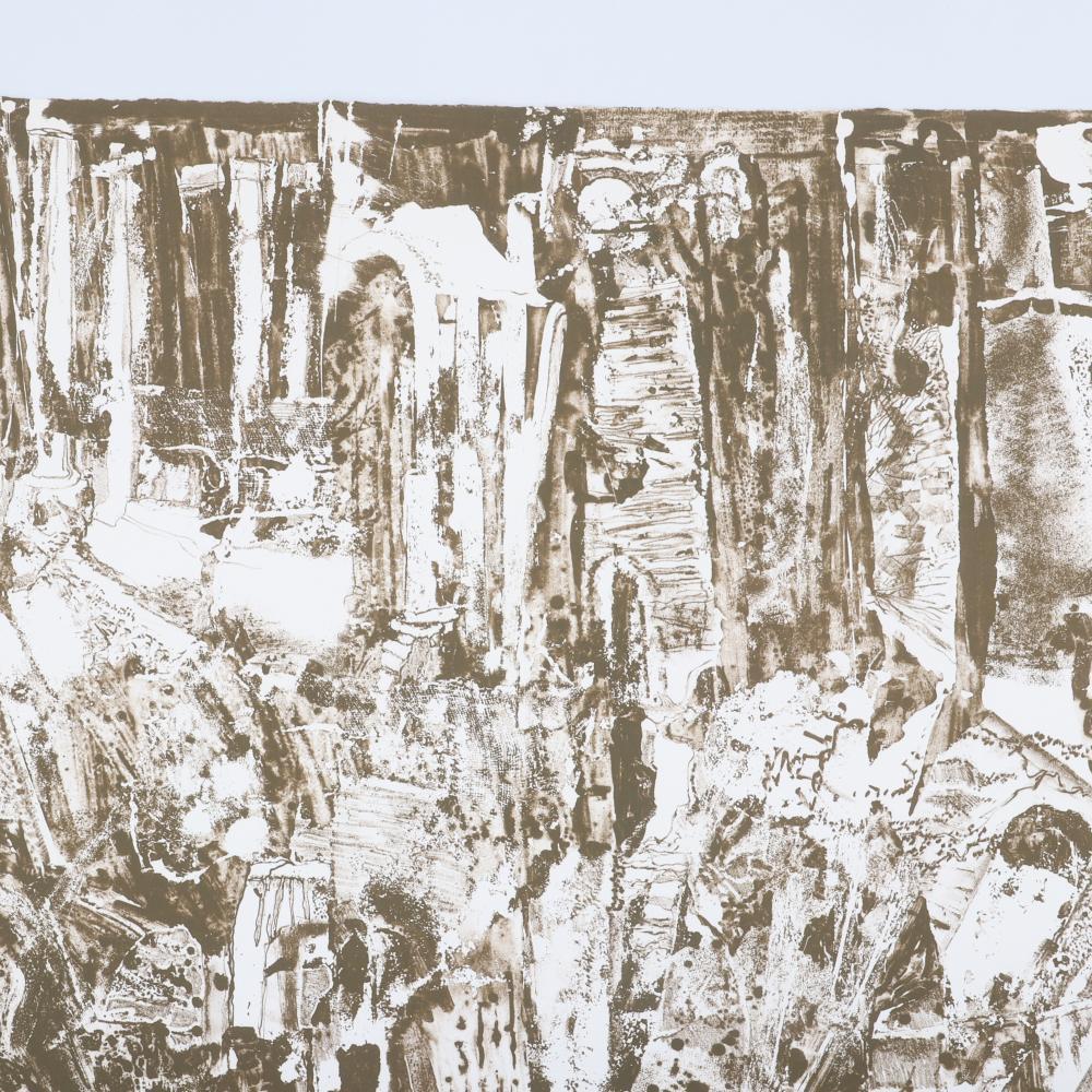 "Rudy Pozzatti, Indiana / Nebraska / Colorado (b.1925), ""Classic Ruins IV"" 1963, lithograph, 11""H x 7 1/2""W (image) 16 3/4"" H x 13"" W (frame)"