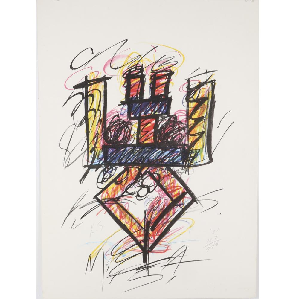 "Keith Sonnier, New York / Louisiana b. 1941, Clar, 1981, color lithograph, 29 1/2""H x 21 1/2""W (paper)"