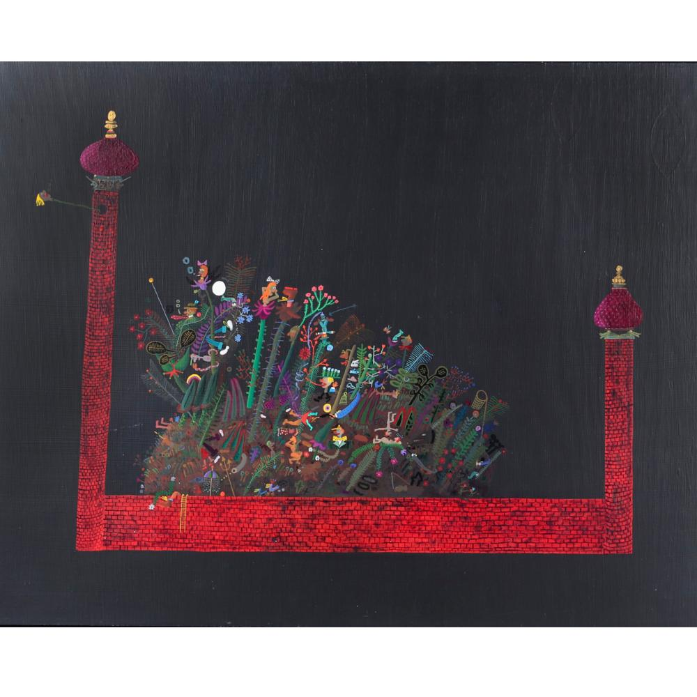"Ronald Markman, (American, 1931 - 2017), Garden, oil on masonite, 40""H x 32""W(image) 41""H x 33""W (frame)"