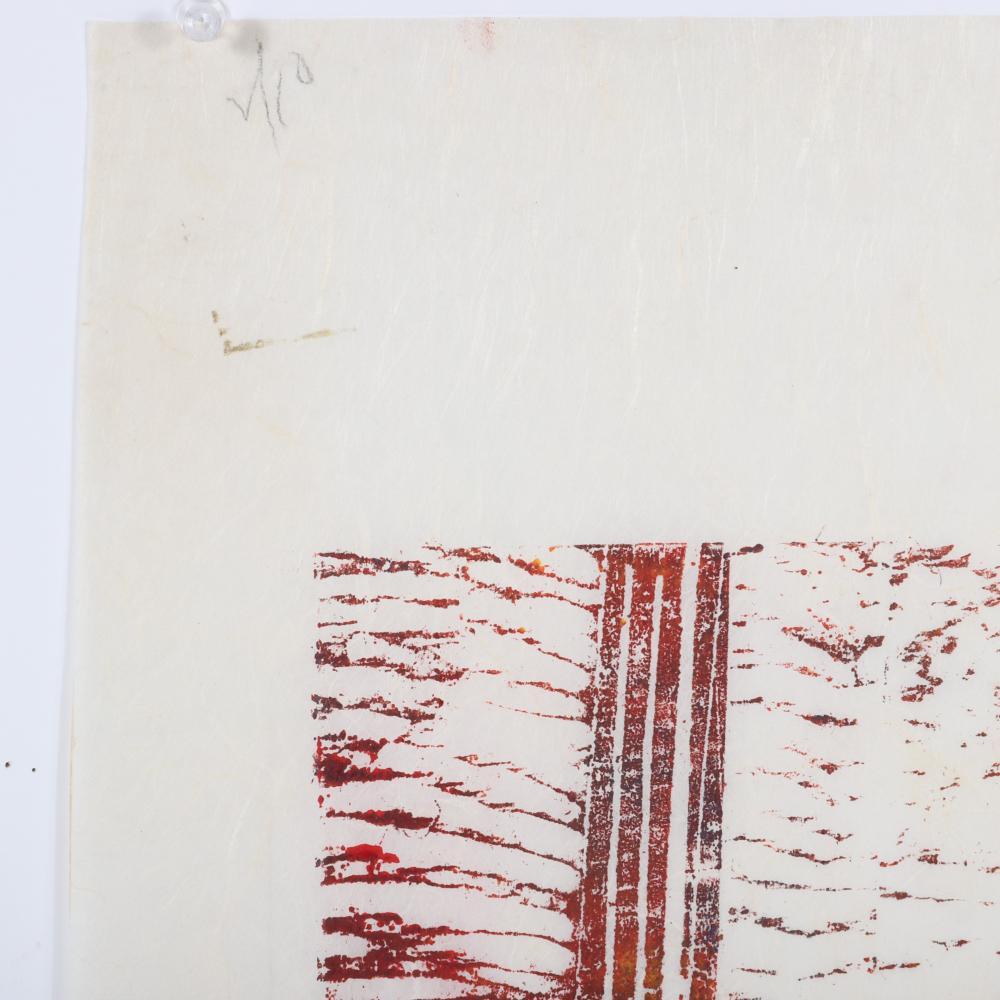 "Irene Zevon, New York 1918-2006, Boomerang 1963, color woodcut on rice paper, 17 3/4""H x 12""W, 23 1/2""H x 15 1/2""W"