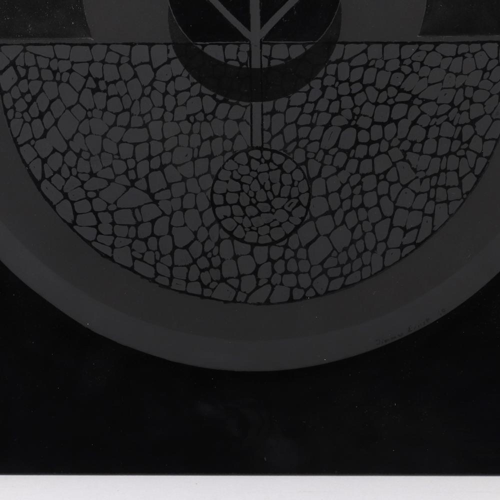"Jimmy Ernst, (1920-1984), Black Disc #3, 1969, oil on plexiglass mounted to black acrylic panel., 20""H x 20""W."