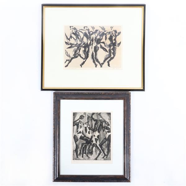 "John Fenton, New York 1912-1977, ""Hassidic Dance II"" numbered 116/250 & ""Africans"" numbered 3/50, etchings, 9 1/2""H x 12""W (image Hassidic), 18 1/2""H x 22""W (frame)"
