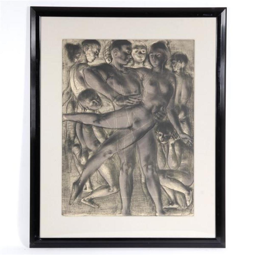 "Ballet company lithograph, male lifting a female ballerina, pencil signed and numbered out of an edition of 100. 32""H x 23 1/2""W (image) 44 1/2"" x 36""W (frame)"