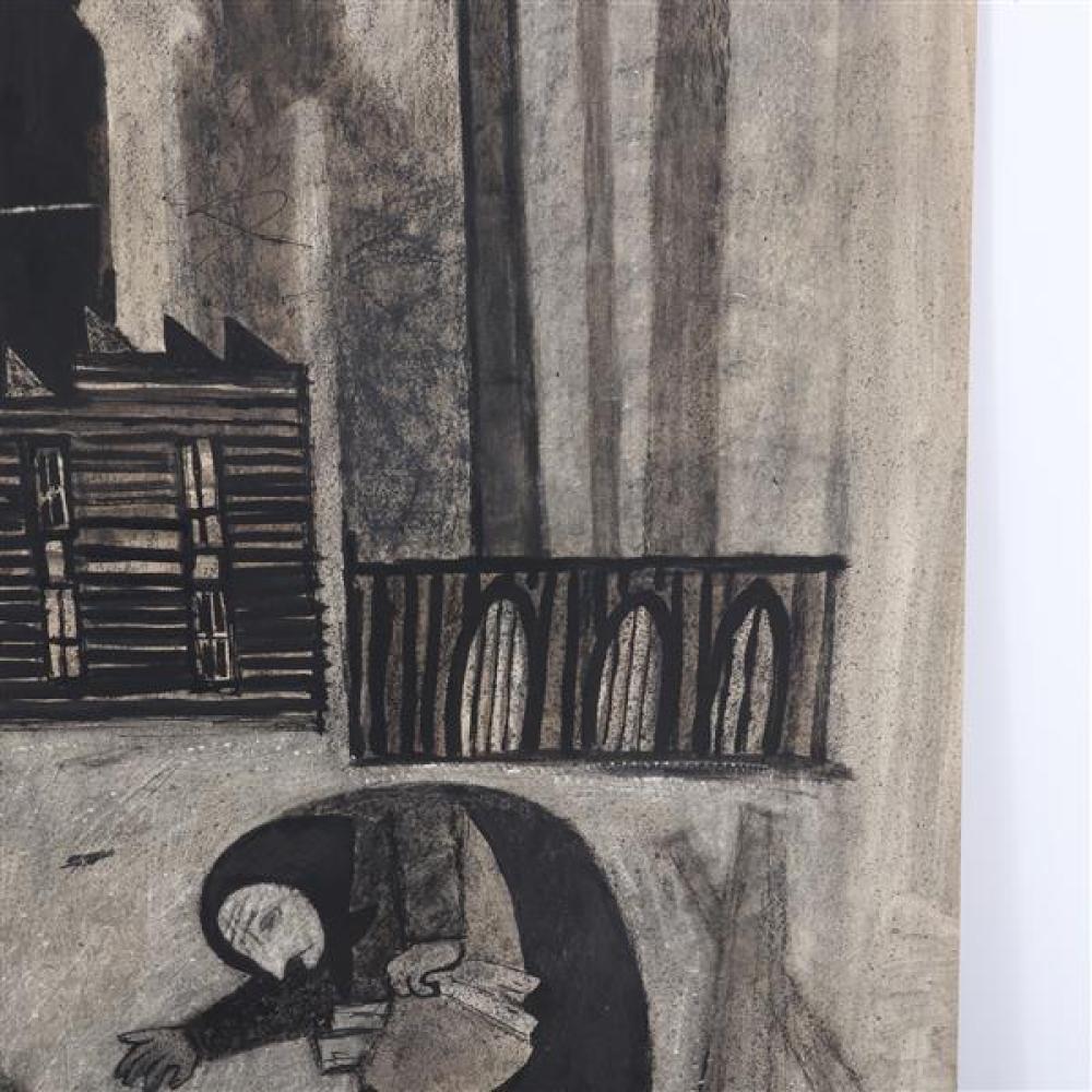 """Gregorio Prestopino, (New York, 1907-1984), Little Grandma, ink wash / watercolor on board, 27 1/2""""H x 20 1/2""""W"""