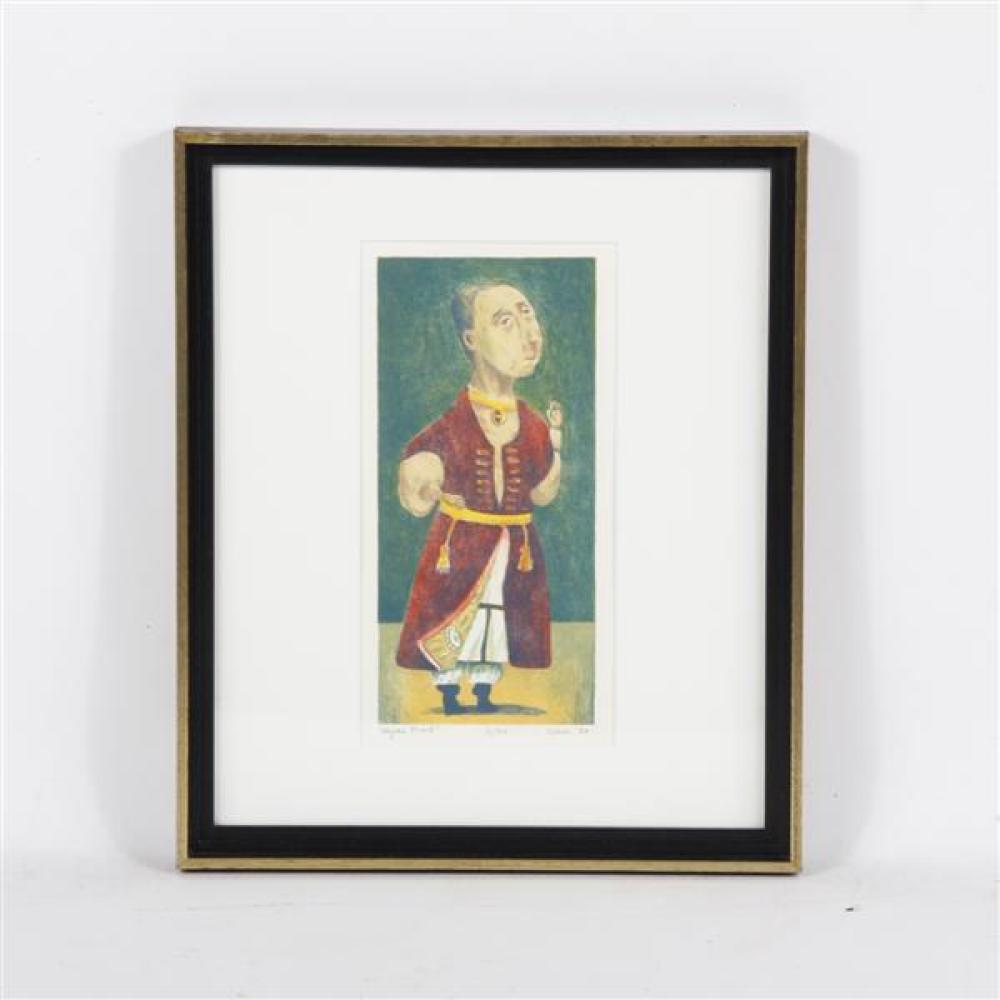 "Tom Keesee, Aegean Priest, 1988, color lithograph, 9 3/4""H x 6""W (sight) 17""H x 14 1/2""W (frame) 12""H x 6""W (image) 17"" x 14 1/2""W (frame)"