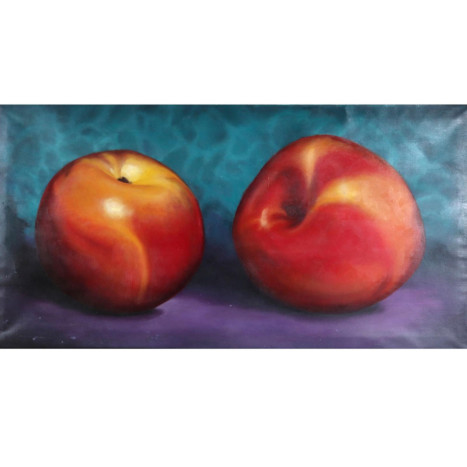 "Tom Seghi, (American, B.1942), Two Apples, 1992, oil on canvas, 40""H x 78""W (image) 41""H x 79""W (frame)"