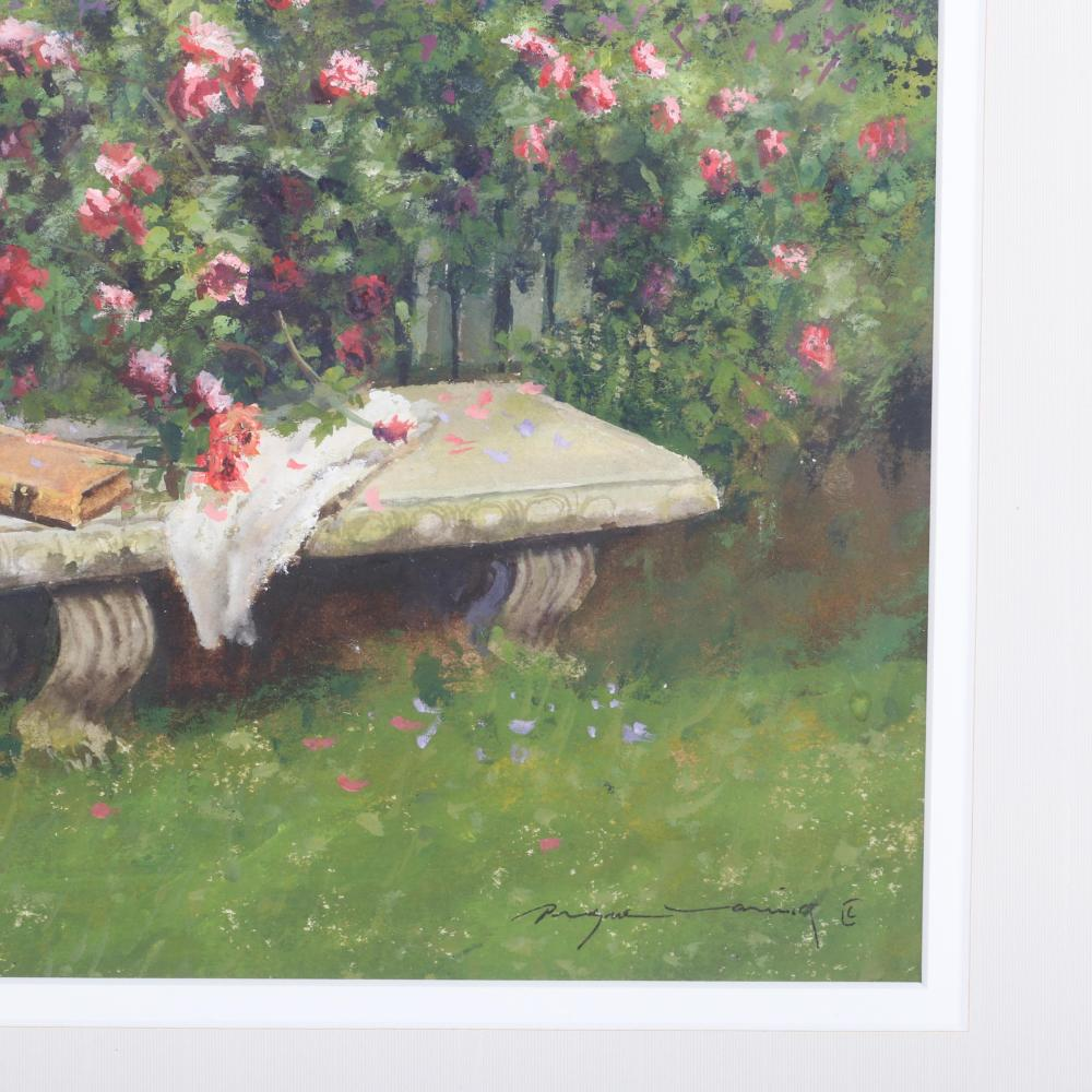 Dwayne Warwick, (American, 21st Century), Impressionist garden fence with stone bench, gouache on paper, 7 1/2H x 9 1/2W (image) 15H x 17W (frame)