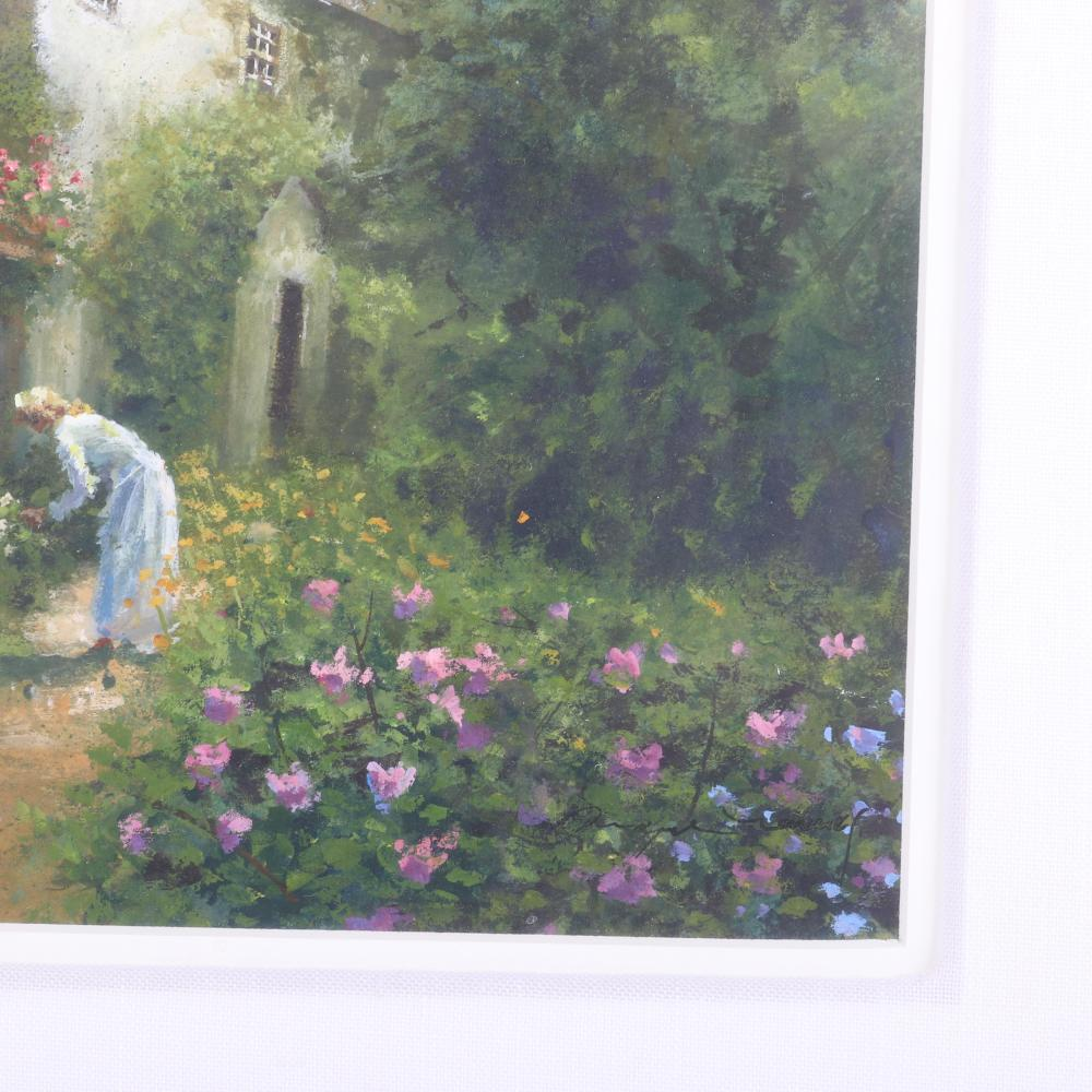"Dwayne Warwick, (American, 21st Century), woman in the garden, impressionist scene painting, gouache on paper, 8 1/2""H x 9""W (image) 16 1/4""H x 16 1/4""W (frame)"