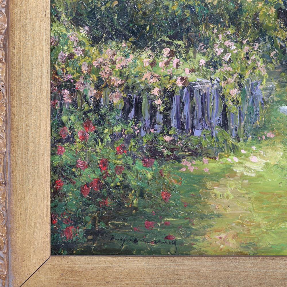 Dwayne Warwick, (American, 21st Century), garden fence with bench; impressionist plein air painting, oil on board