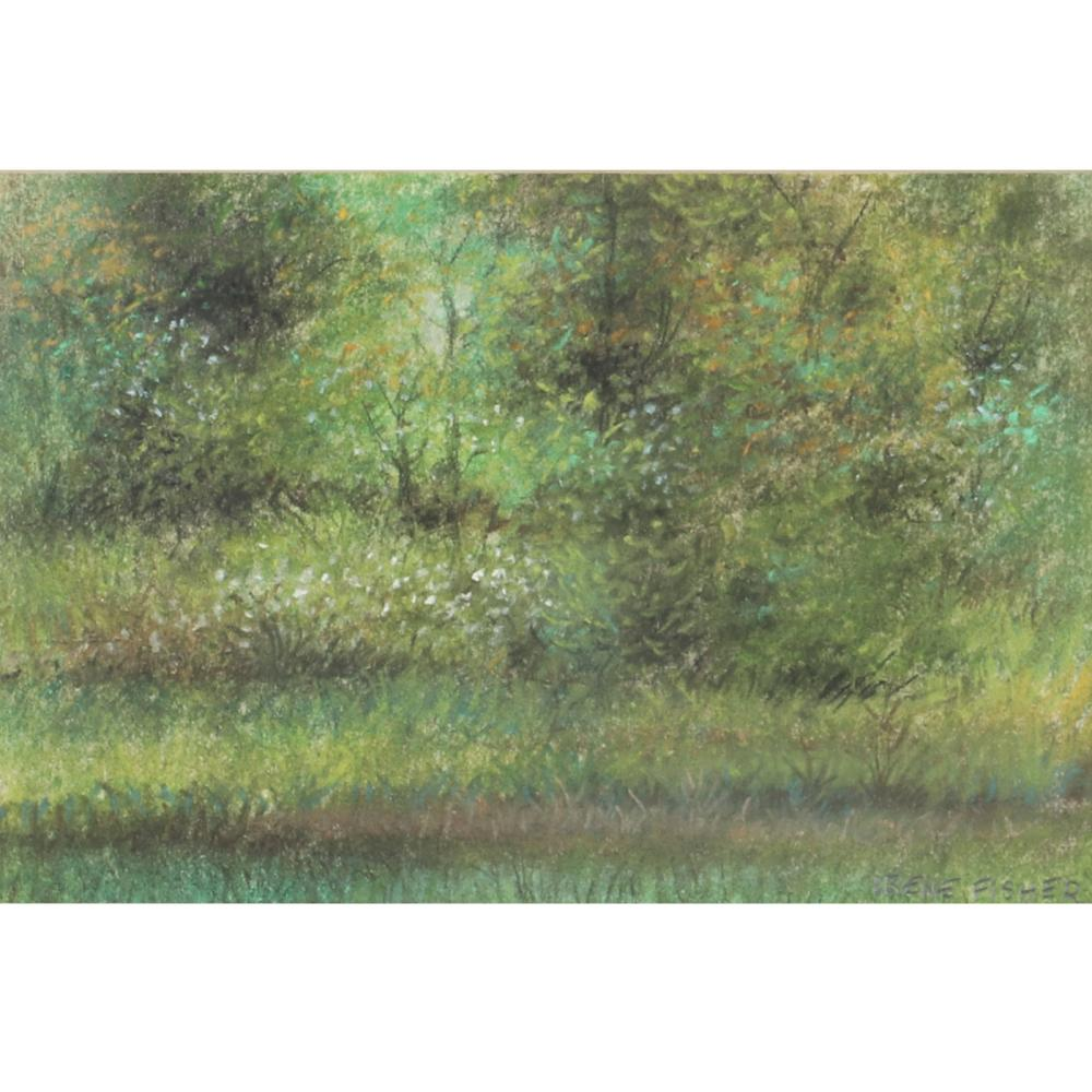 """Irene Fisher, Chicago 1922-2004, woodland scene with flowers, pastel on paper, 5""""H x 7 12""""W (image) 9 1/2""""H x12 1/2"""" W (frame)"""