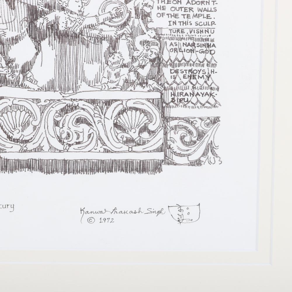 "K.P. Singh, India / Indiana B. 1931, Hoyasaleswara Temple, 12th Century, Halebid, Mysore State, Indiana, 1972, original pen and ink drawing on paper, 21""H x 12""W (image) 31""H x 22""W (frame)"