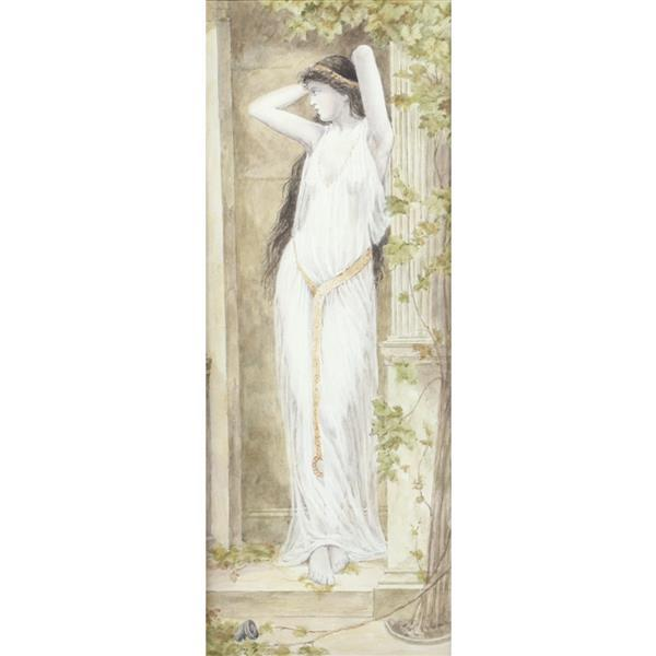 """T.W. Gill, 20th Century, female nude in diaphanous gown, Pre Raphaelite style portrait painting, watercolor on paper, 17""""H x 6 1/2""""W (image), 22 1/2""""H x 11 1/2""""W (frame)"""