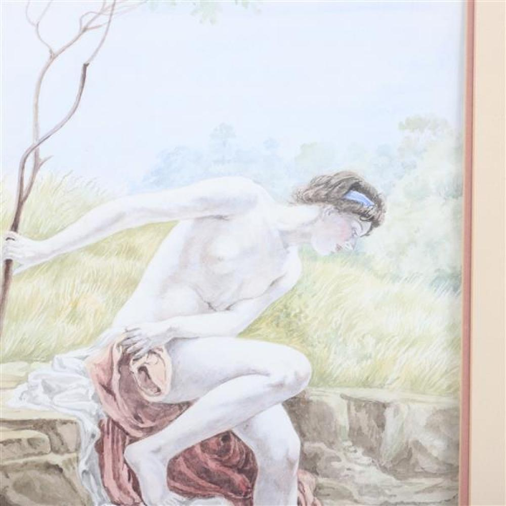 "T.W. Gill, 20th Century, female nude bather, Pre Raphaelite style scene painting, watercolor on paper, 15 1/2""H x 9 1/2""W (image), 21""H x 15""W (frame)"