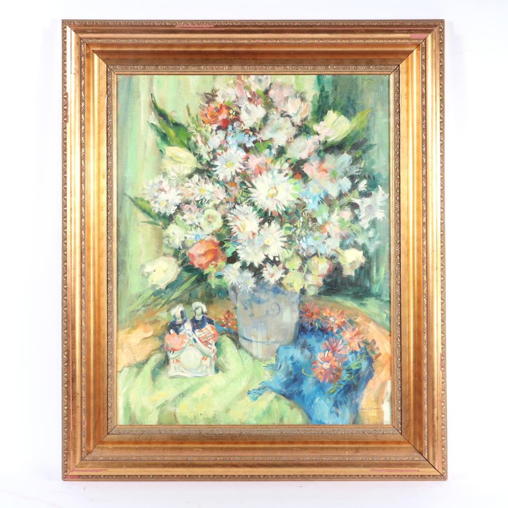 """Edmund Greacen, (American, 1873/76-1949/51), still life with flowers and Staffordshire pottery, oil on canvas, 27 1/2""""H x 21 1/4"""" W (image) 36""""H x 30""""W (frame)"""