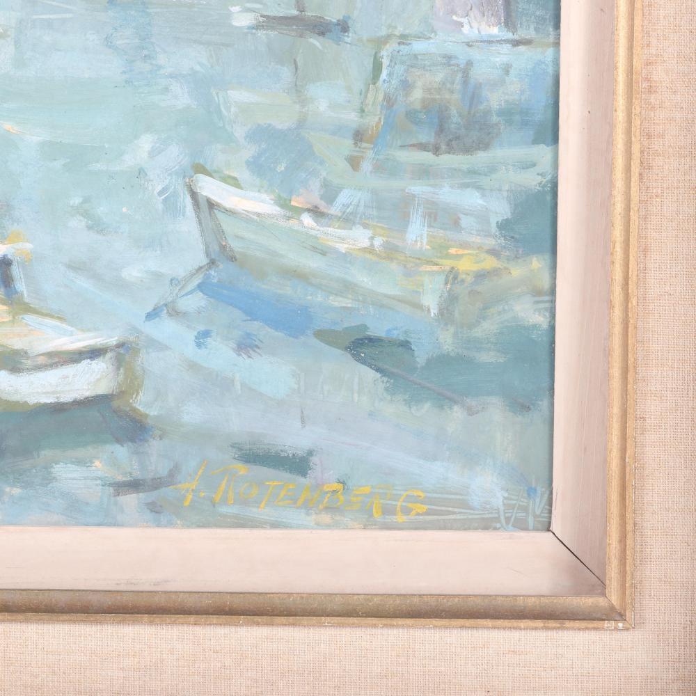 "Harold Rotenberg, (American, 1905-2011), wharf scene with boats in the harbor, oil on board, 14""H x 18""W (image) 20 1/4""H x 24 1/2""W (frame)"