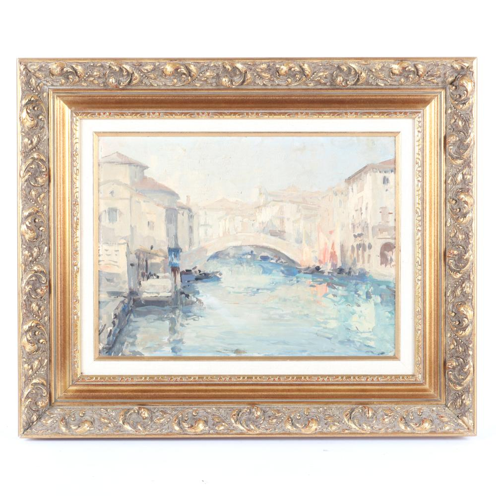 """Unknown European Impressionist view of a bridge over the Venice canal, oil on board, unsigned, ca. early 20th Century. 11 1/2""""H x 15 1/2""""W (image) 19 1/2""""H x 23 1/2""""W (frame)"""