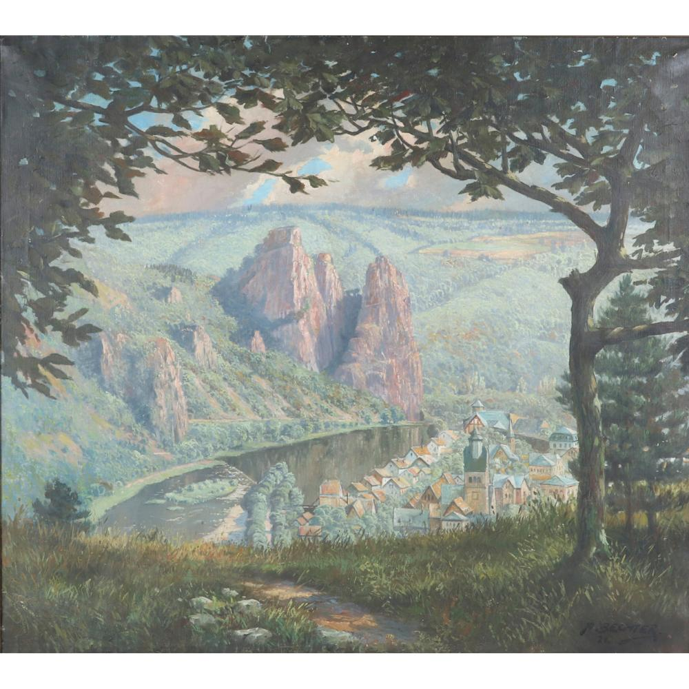 "August Bechter, (German, 1889-1965), Germany, 1921 landscape, oil on canvas, 35""H x 39""W (image), 39""H x 43""W (frame)"