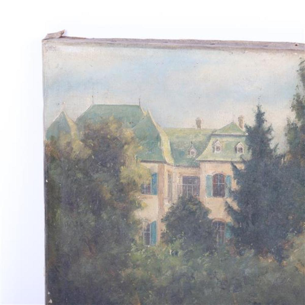 "C. Willy Vogt, (German, 20th Century), garden landscape with statue, oil on canvas, 14""H x 12 3/4""W"
