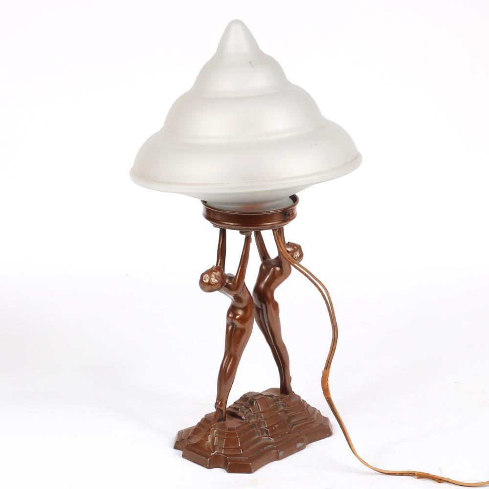 """Nuart Art Deco double nude lady lamp with frosted glass conical shade; spelter metal with painted brown finish. 20""""H x 10""""W"""