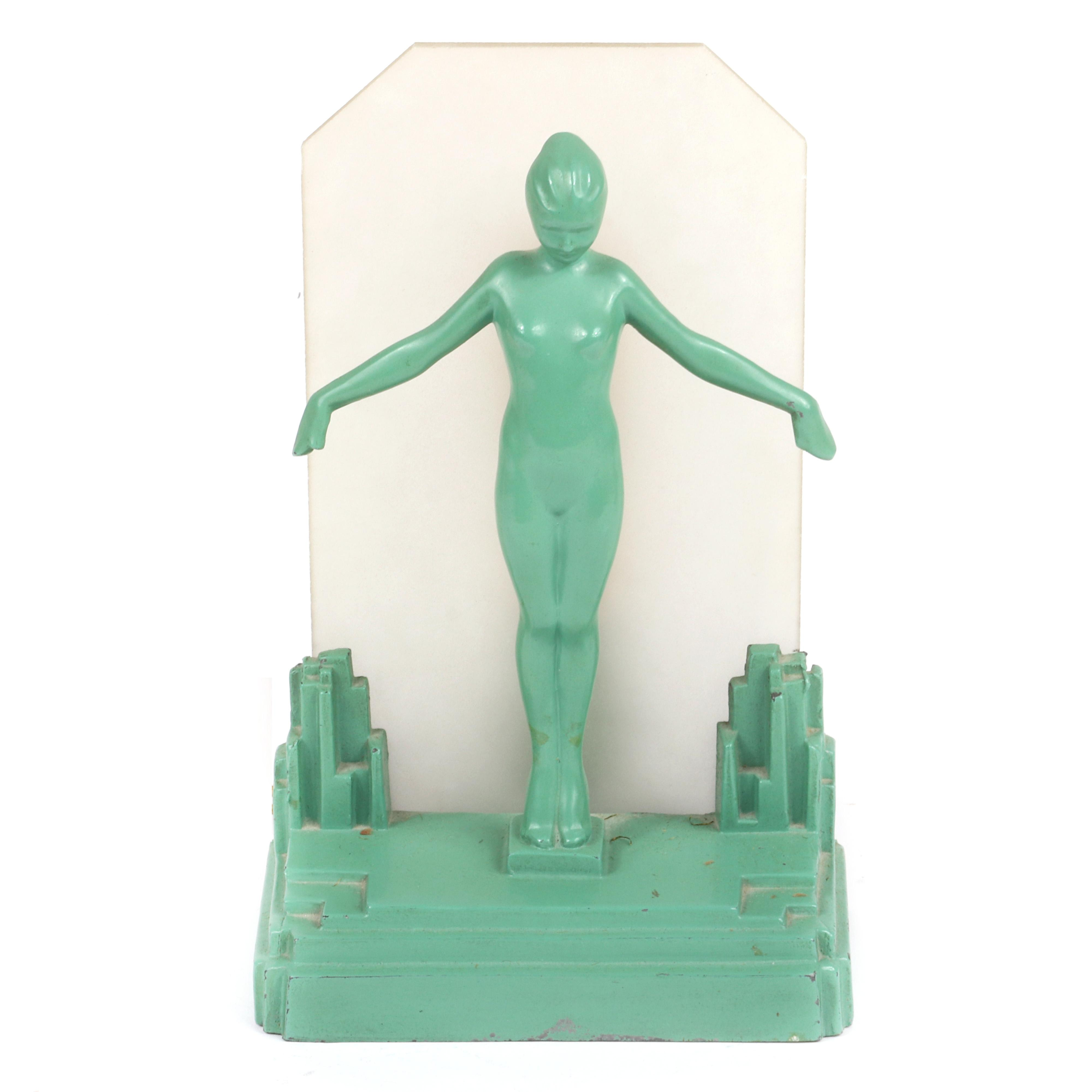 """Frankart art deco nude figural table lamp with frosted glass panel shade, original green finish. 11""""H x 6 1/2""""W"""