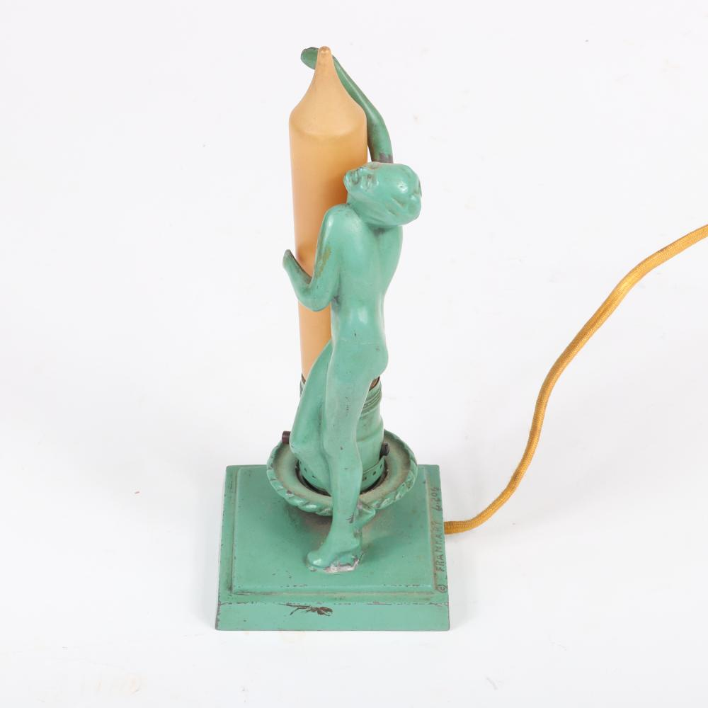 """Frankart art deco nude figural L206 candle form dresser lamp with frosted glass shade, original green finish. 9 3/4""""H x 3 1/2""""W"""