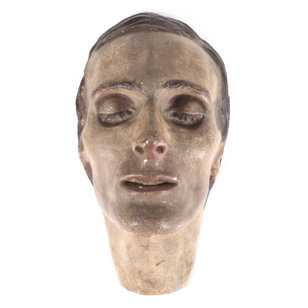 """Plaster death mask painted realistically, with dimensional hair and eyelashes and brows, in wood box. 6""""H x 6""""W x 11""""D"""