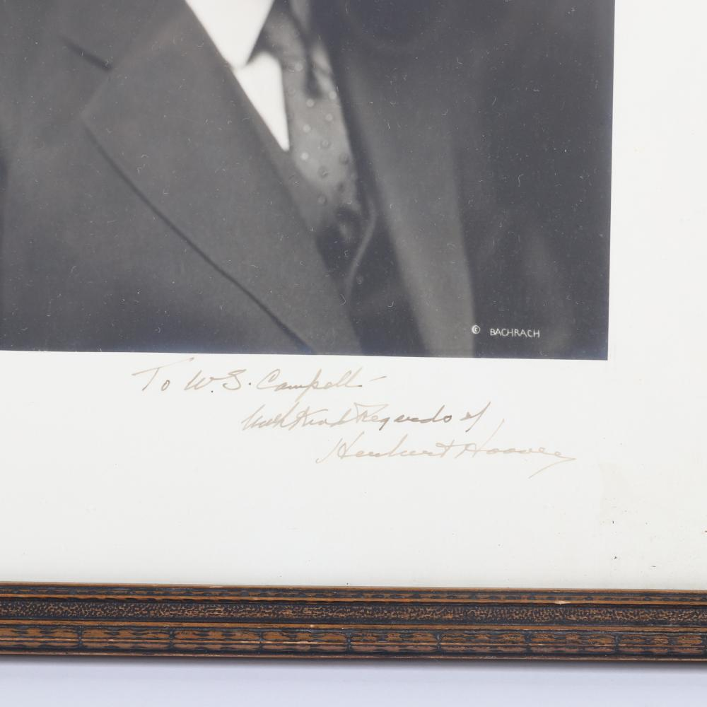"""Herbert Hoover autographed photograph with signed personal inscription to W.S. Campbell. 9 1/8""""H x 7 1/8""""W (photo),15""""H x 12""""W (frame)."""