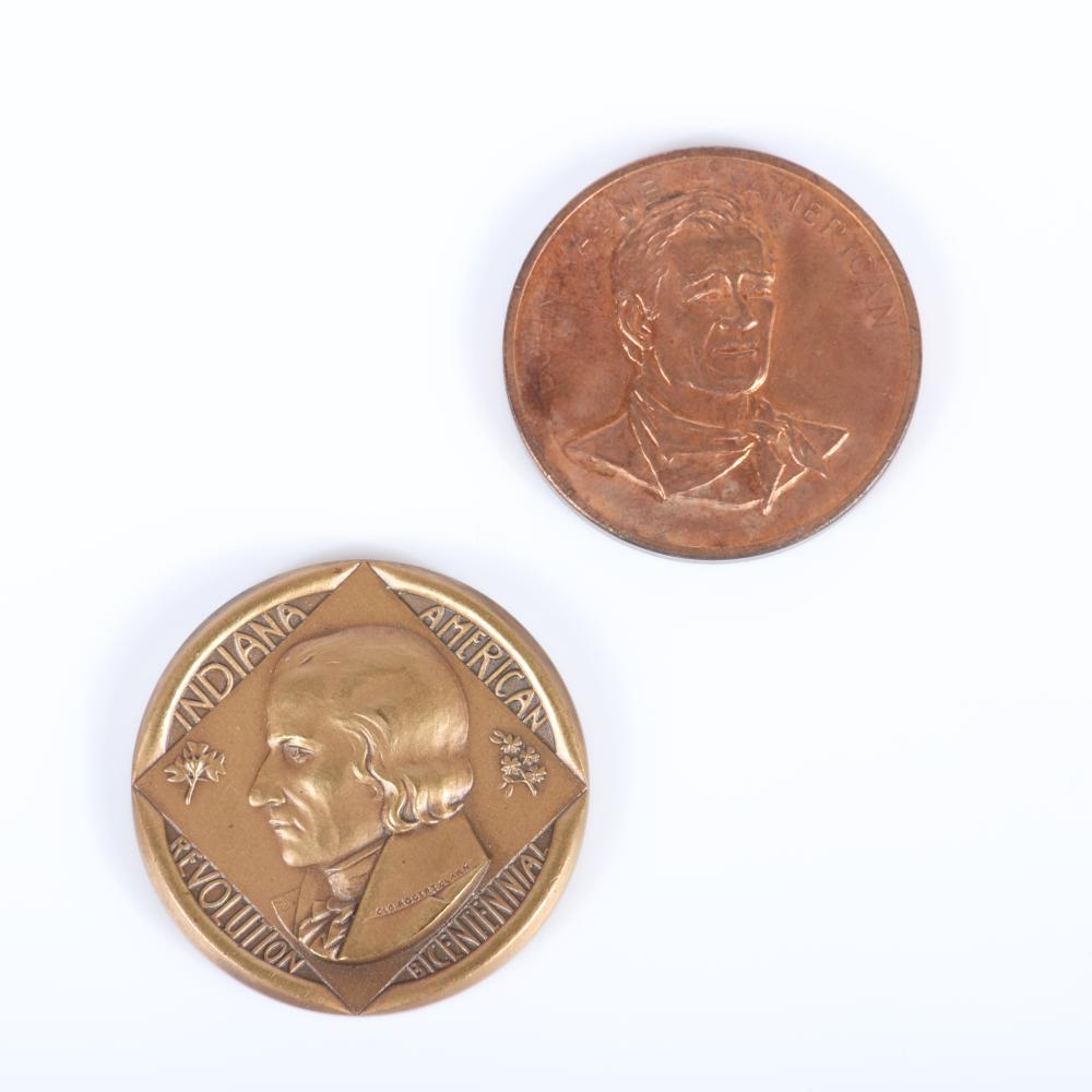 "Ten historical figures commemorative coins/medals: William Pitt 1794 England half penny Token, Dover Cinque Ports, sterling silver Benjamine Silliman 1818-1968 American Journal of Science 1 1/161""diam (William Pitt)"