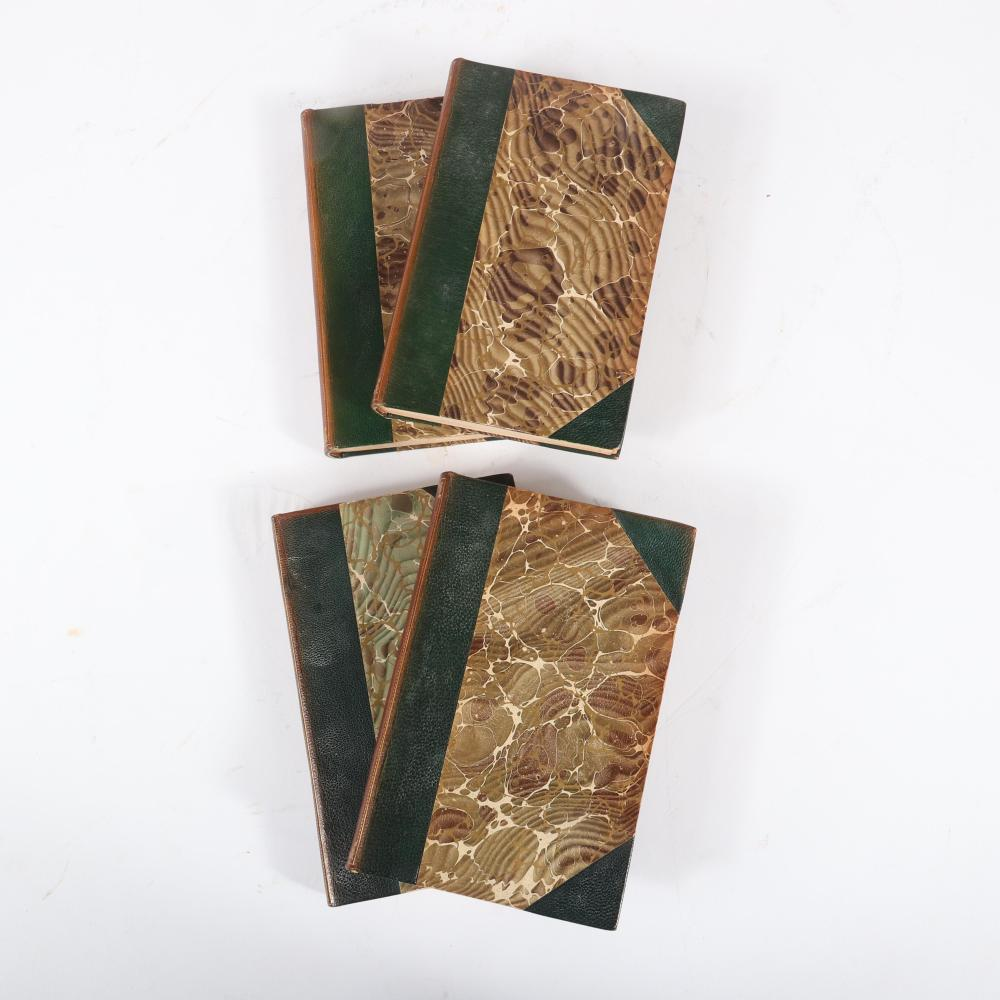 """Four half-bound leather on marble board antique books by Hamilton Wright Mabie, New York, 1891-1898: """"Nature and Culture,"""" 1896; """"Work and Culture,"""" 1898; """"Books and Culture,"""" 1896; """"Studies in Literature,"""" 1894. 1""""H ..."""