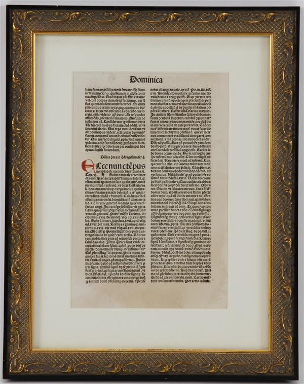 "Leaf from Latin text, Dominica 11""H x 7 1/2W (image) 16 3/4H x 13"" (frame)"