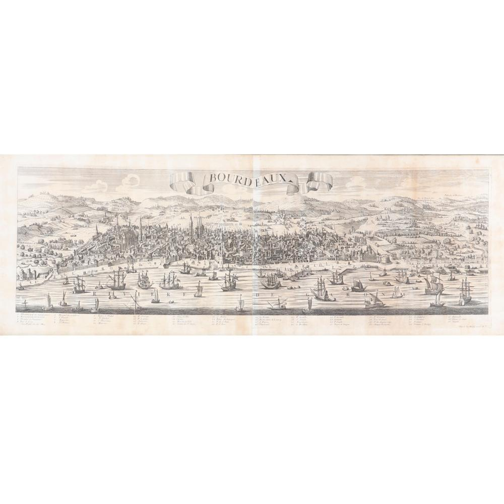 Map engraving; HAERED IER. WOLFFY EXC. AV large uncolored birdseye view panorama of Bordeaux from across the river, showing the fortified walls guarding the city, the main town within the walls and surrounding country...