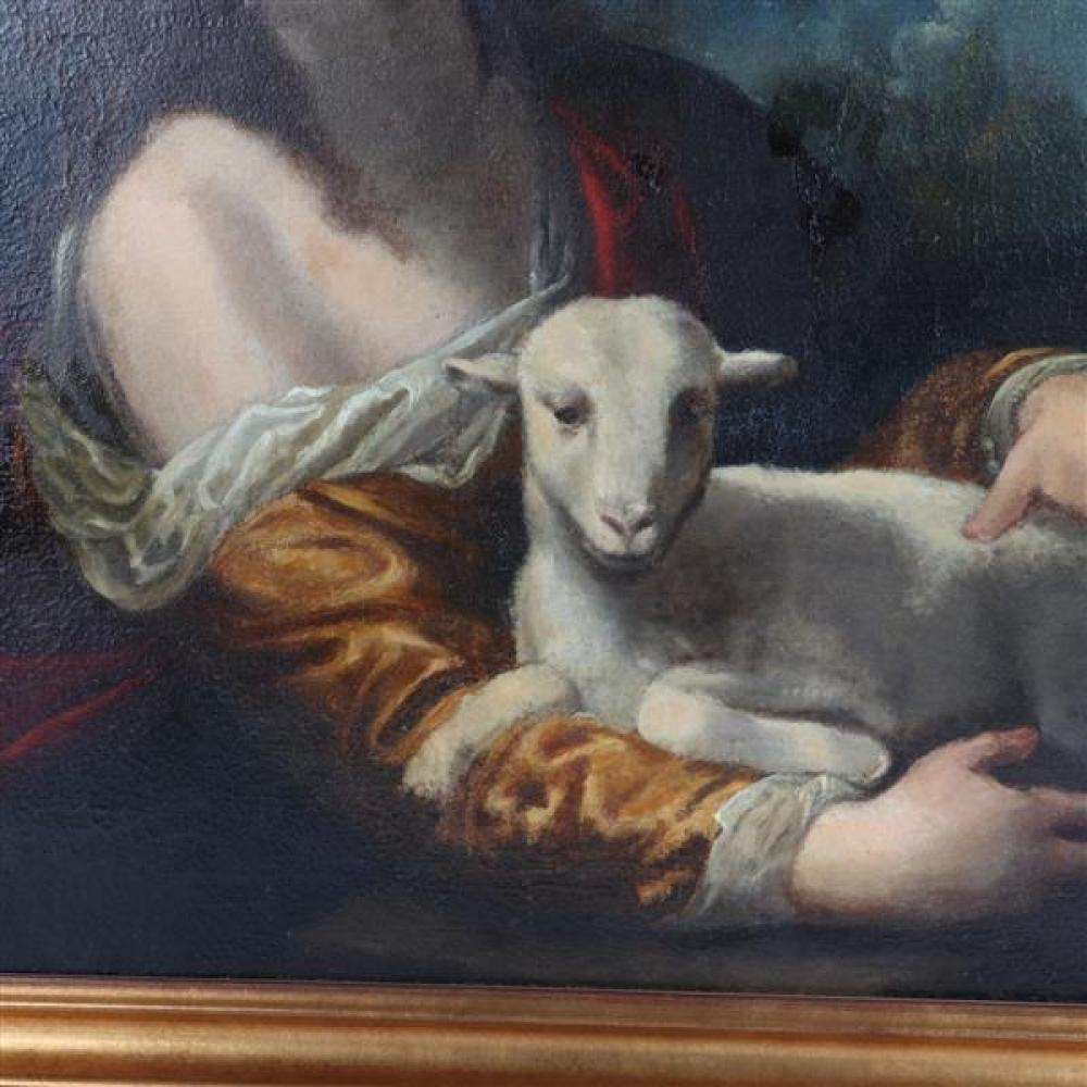 "Italian School Baroque old master copy, Saint Agnes with Lamb after Simone Pignoni. 27""H x 35""W (image), 32""H x 40 1/2""W (frame)"