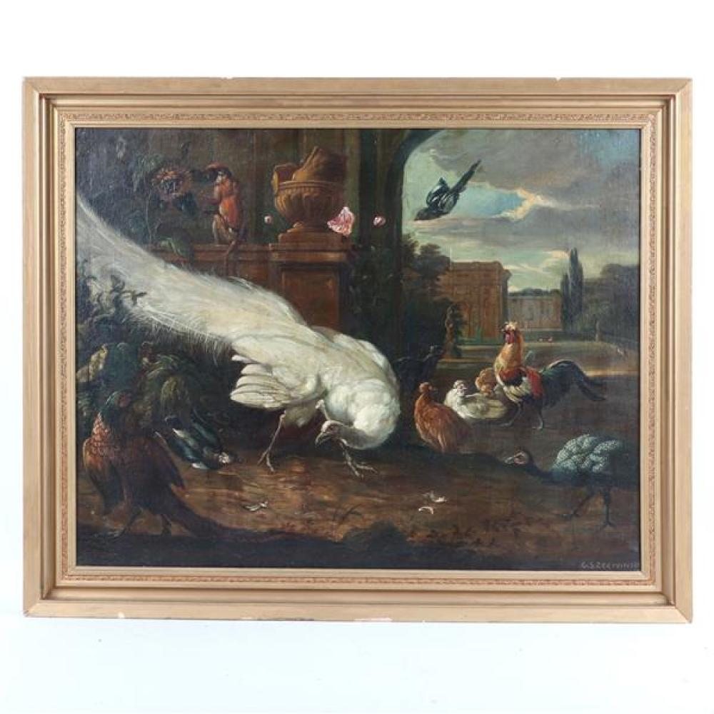 """After Melchior D'Hondecoeter (Dutch, circa 1636-1695), birds in a setting, old master copy, oil on canvas, signed 31 1/2""""H x 40 1/2""""W (image), 38 1/2""""H x 47 1/2""""W (frame)"""