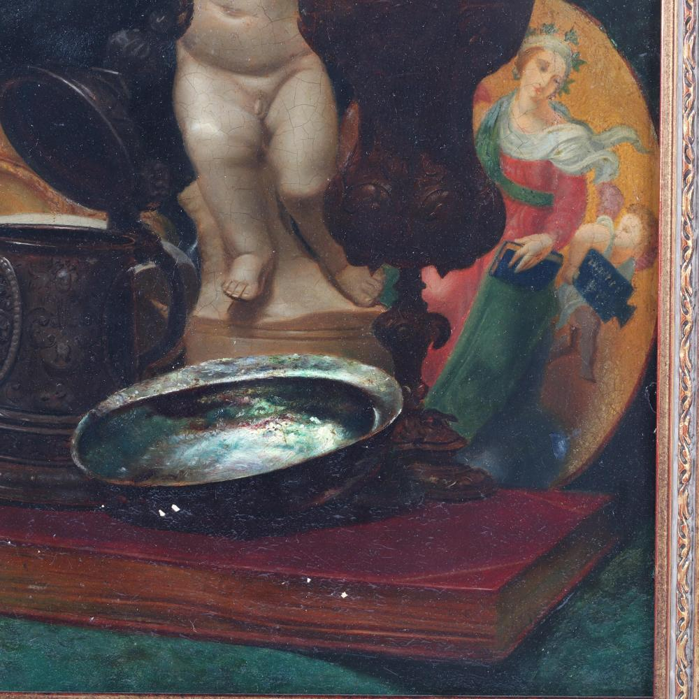 "Dutch / Flemish School, Old Master 17th Century style still life with cherub, stein, chalice, nautilus and abalone shells on a book, oil on panel. 17 3/4""H x 14 1/2""W (image) 26 1/2""H x 23 1/4""W"