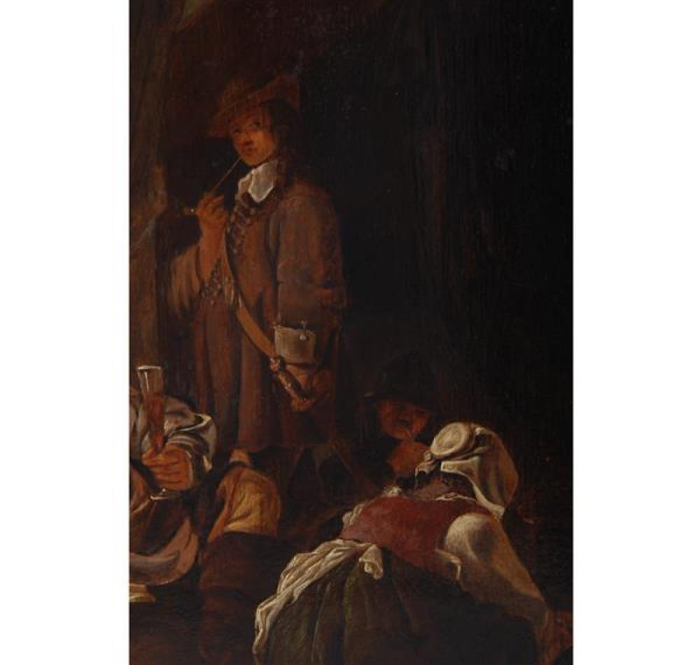 "Maerten Stoop, Holland 1620 - 1647, Dutch Tavern Interior Scene, Oil on board, 16""H x 12 1/2""W (image), 23 1/4""H x 19 3/4""W (frame)"