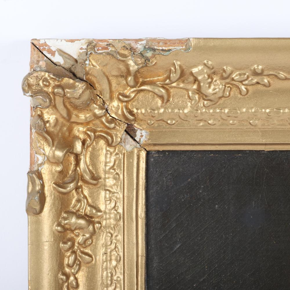 "French? Continental School 18th Century naive genre woman and children in domestic interior scene, oil on canvas. 22""H x 19""W (image) 27""H x 23""W (frame)"