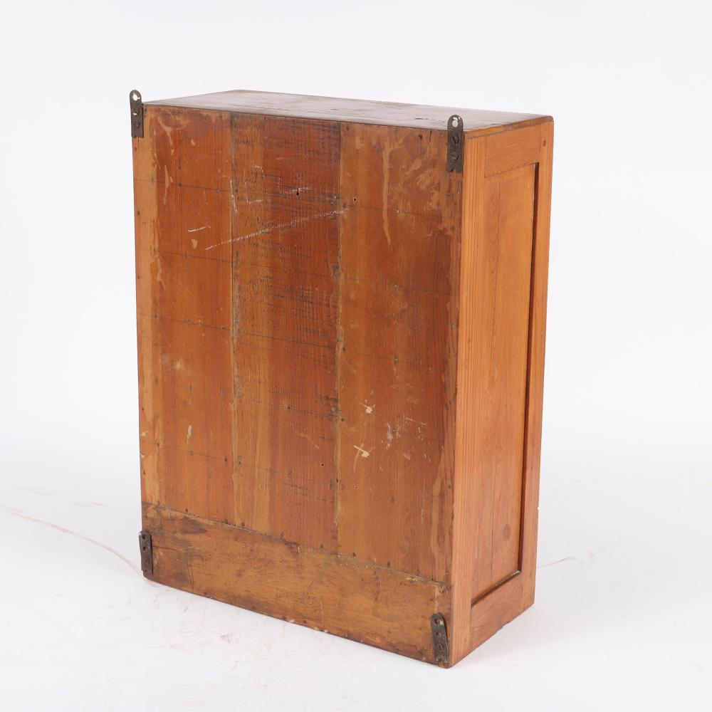 """Country primitive wall hanging spice or apothecary antique RX cabinet stamped 'Antieseptic Powder' on top, General Store. 21 1/4""""H x 15 3/4""""W"""