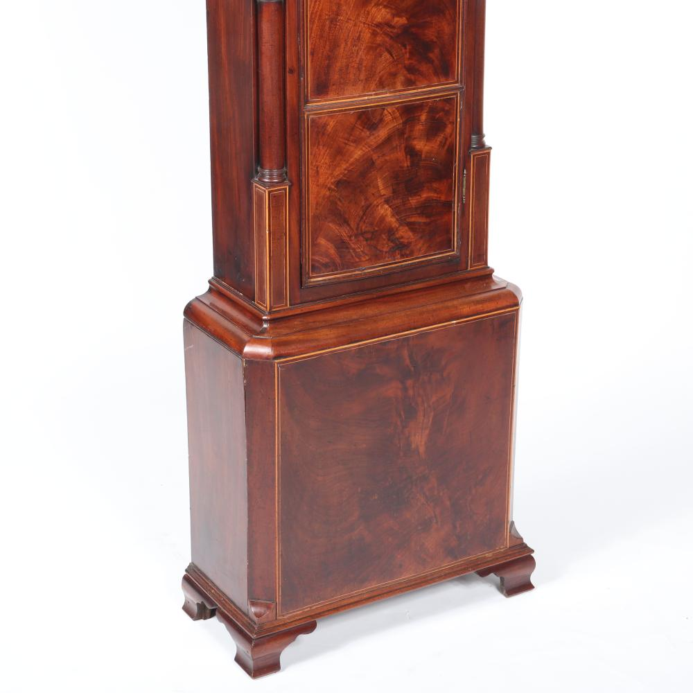 "English eight day tall case Grandfather's clock in figured mahogany case, Wm. Toleman 1790. 96""H x 20 1/2""W x 9 1/2""D."