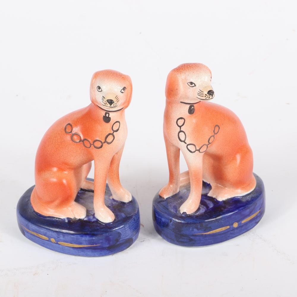 """Staffordshire ceramic 4pc. mantle group including two pair hunting dogs on cobalt blue painted bases. 5 1/2""""H x 3 3/4""""W (one)"""