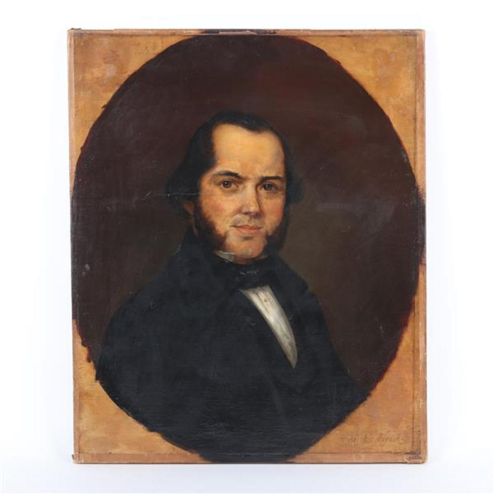 """An American antique 19th Century oval portrait of a man identified as 'Mr. E. Ward' lower right, oil on canvas, unsigned. 27""""H x 22""""W"""