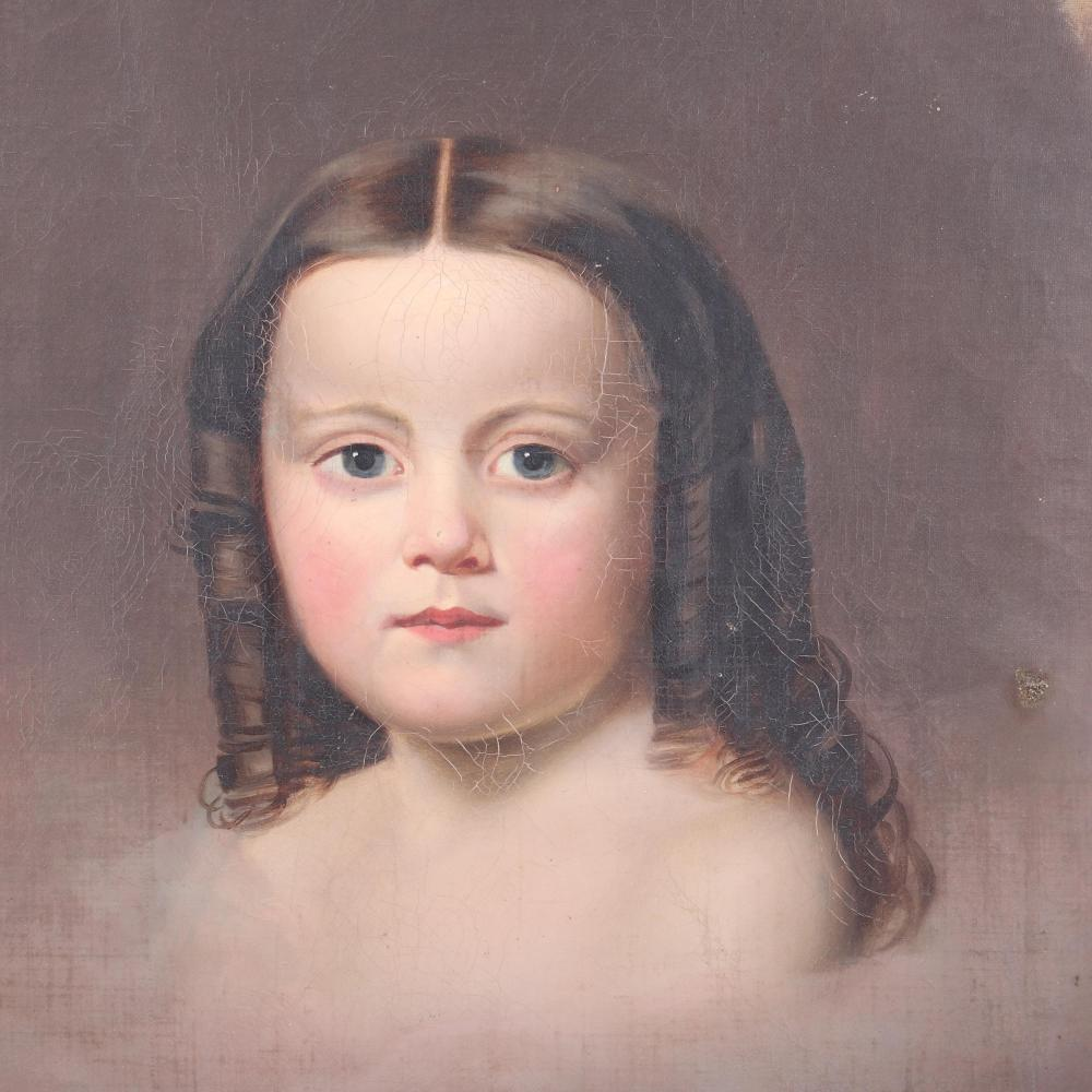"American mid 19th Century oval portrait of a young girl with ringlet curls, oil on canvas in the manner of Thomas Sully. 23""H x 18 1/2""W (image) 32"" x 28"" (frame)"