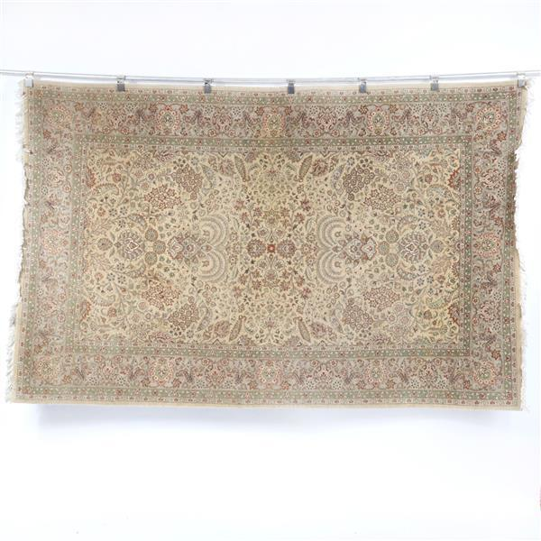 Handwoven modern Pak-Persian wool carpet rug with tree of life design in cream and beige, 280 knots per square inch. 5' x 8'
