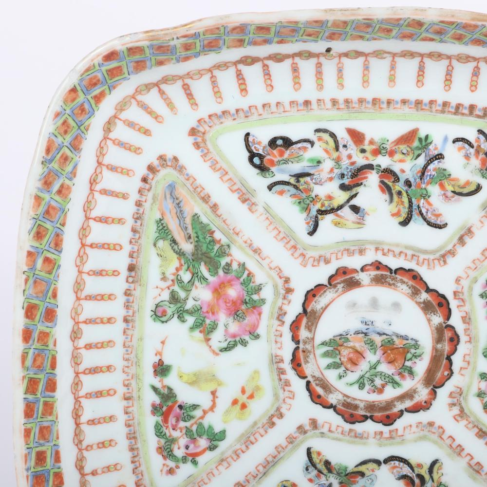 """Chinese Export Qing Dynasty Rose Medallion Famille Verte square porcelain and enamel plate / dish with butterfly design, 18th Century. 1 1/2""""H x 9""""W x 8 3/4""""D"""