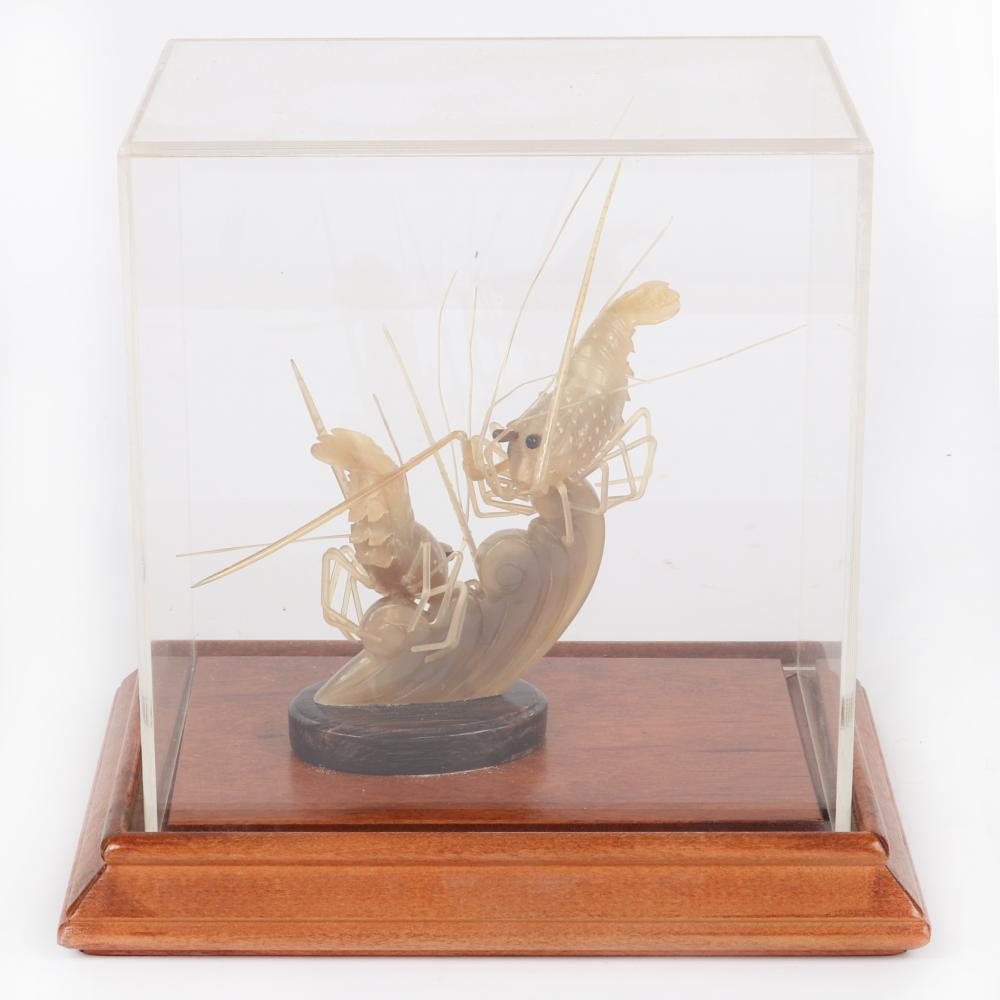 """Chinese hand carved horn shrimp figure group on wood base and housed under lucite cover. 7 3/4""""H x 7 1/2""""W"""