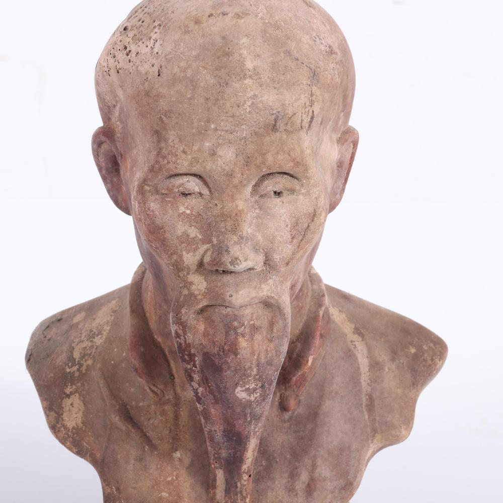 """Chinese terre cotta earthenware bust of a scholar, possibly Confucius. 7 1/2""""H x 5""""W"""